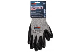 NITRILE COATED CUT LEVEL 5 GLOVES - CARDED